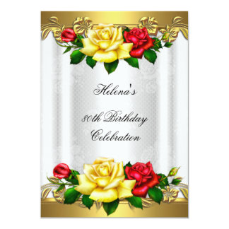 80th Birthday Party Elegant Red Gold Roses Lace Card