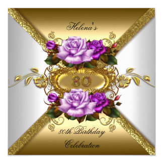 80th Birthday Party Elegant Roses Purple Gold 2 Card