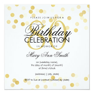 80th Birthday Party Faux Gold Foil Glitter Lights Card