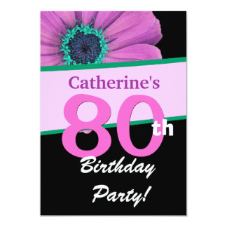 80th Birthday Party For Her Pink Daisy W342 5x7 Paper Invitation Card