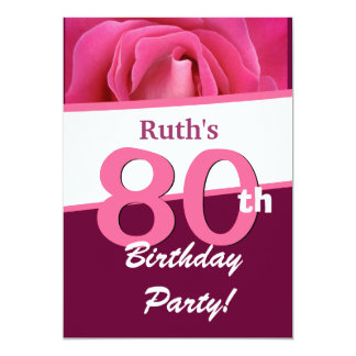 80th Birthday Party For Her  Pink Rose V697 5x7 Paper Invitation Card