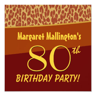 80th Birthday Party Gold Leopard For Her W260 5.25x5.25 Square Paper Invitation Card