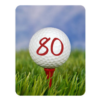 80th Birthday Party Golf theme Card