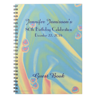 80th Birthday Party Guest Book, Blue with Hearts Spiral Notebook