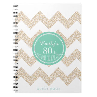 80th Birthday Party Guest Book Choose your Color Notebook