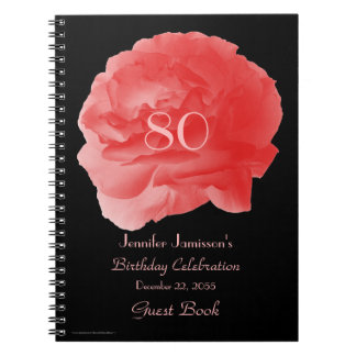 80th Birthday Party Guest Book, Coral Rose Petals Spiral Note Books
