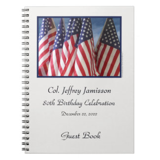 80th Birthday Party Guest Book, Flags Spiral Notebook