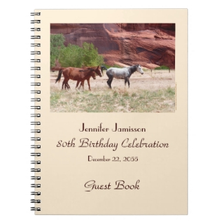 80th Birthday Party Guest Book, Horses in Canyon