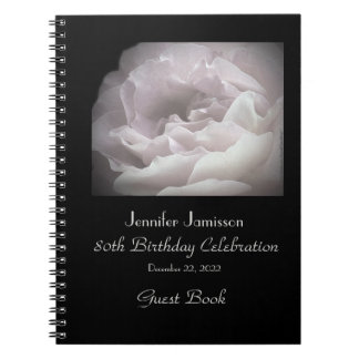 80th Birthday Party Guest Book, Pale Pink Rose Spiral Notebook