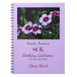 80th Birthday Party Guest Book, Purple Flowers Notebook