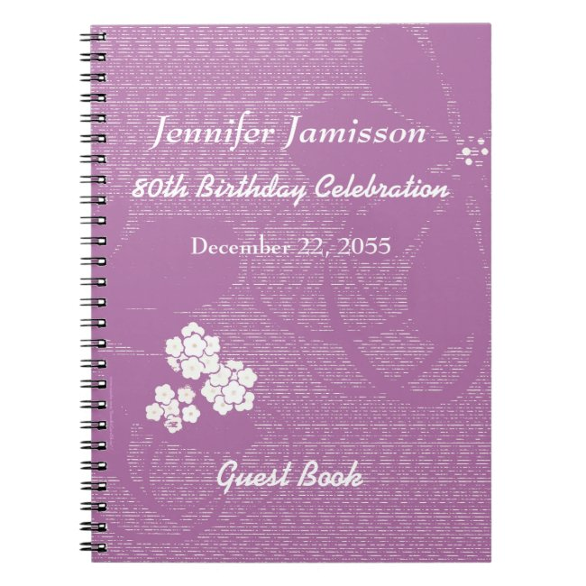 80th Birthday Party Guest Book Purple White Floral