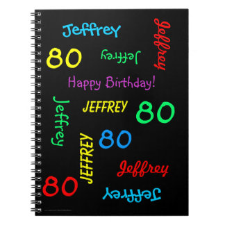 80th Birthday Party Guest Book, Repeat Name Black Notebook