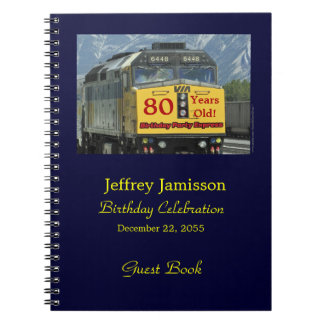 80th Birthday Party Guest Book, Yellow Train Spiral Note Book