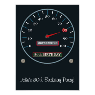 "80th Birthday Party Invitation 6.5"" X 8.75"" Invitation Card"