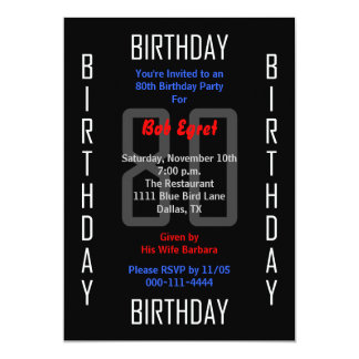 "80th Birthday Party Invitation - 80 5"" X 7"" Invitation Card"