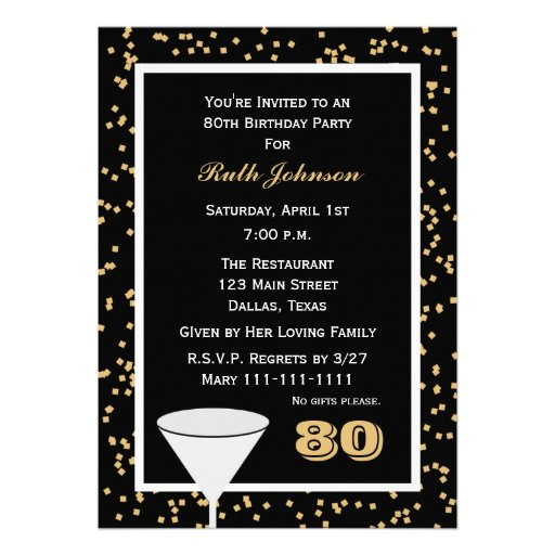 80th Birthday Party Invitation -- 80 and Confetti Announcement