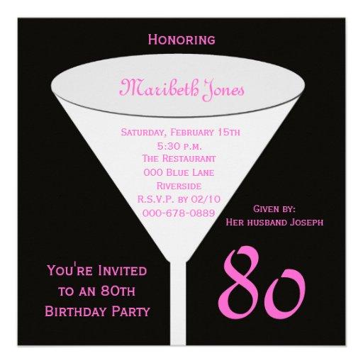 80th Birthday Party Invitation -- 80th Toast | Zazzle