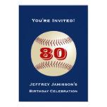 """80th Birthday Party Invitation Baseball 5"""" X 7"""" Invitation Card"""