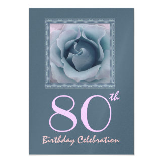 80th Birthday Party Invitation BLUE and PINK Rose