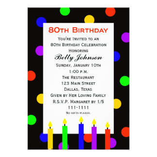 80th Birthday Party Invitation -- Candles and Dots Cards