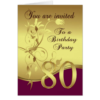 80th Birthday Party Invitation Cards