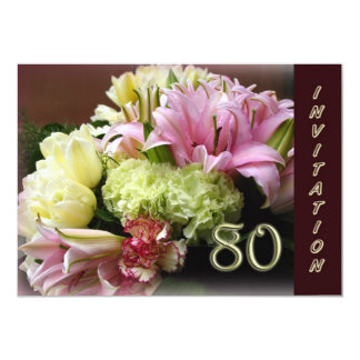 80th Birthday Party Invitation - Flower Bouquet