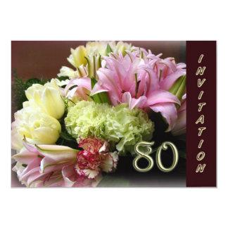 80th Birthday Party Invitation - Flower Bouquet