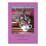 80th Birthday Party Invitation, Flowers in Teapot Card