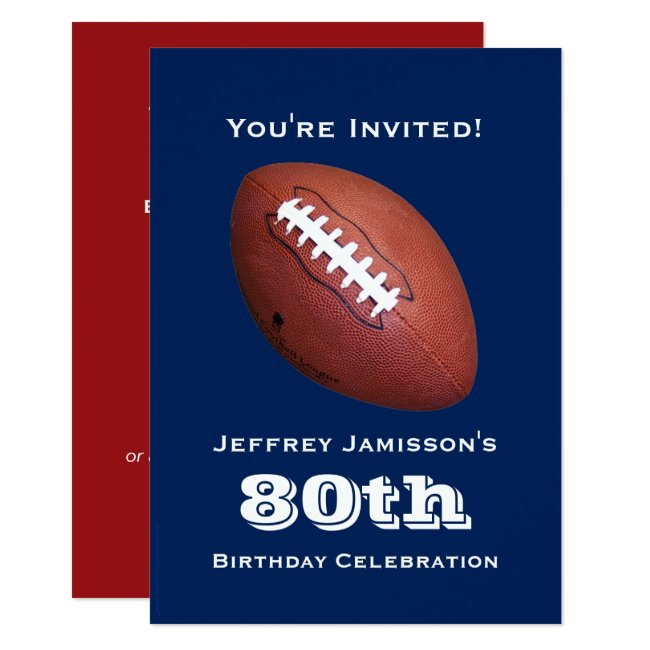 80th Birthday Party Invitation, Football