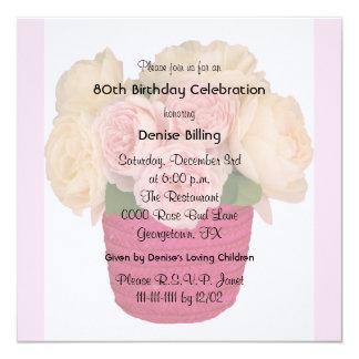 80th Birthday Party Invitation Garden Roses