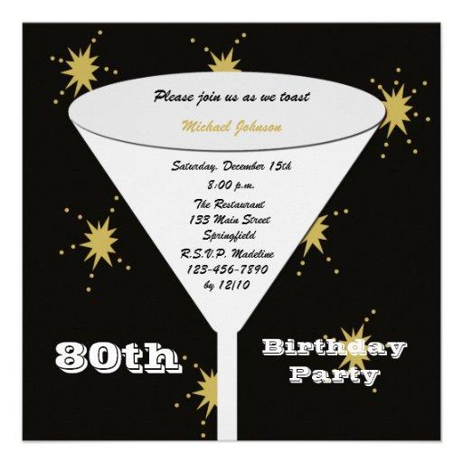 80th BIrthday Party Invitation -- Gold 80th Toast