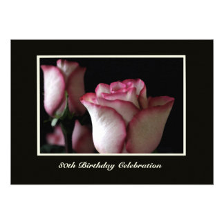 80th Birthday Party Invitation -- Gorgeous Roses Personalized Invite