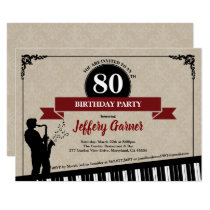 80th birthday party invitation Jazz music theme