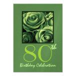 """80th Birthday Party Invitation Kelly Green Roses 5"""" X 7"""" Invitation Card"""