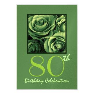 80th Birthday Party Invitation Kelly Green Roses