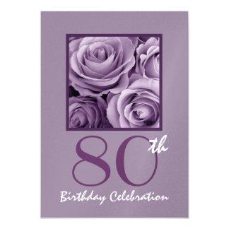 80th Birthday Party Invitation Lilac Purple Roses