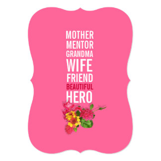 "80th Birthday Party Invitation - Mom is a Hero 5"" X 7"" Invitation Card"