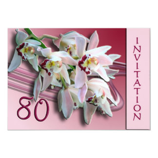 80th Birthday Party Invitation - Orchids