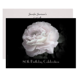 80th Birthday Party Invitation Pale Pink Rose