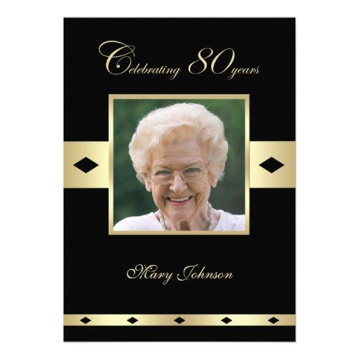 80th Birthday Party Invitation -- Photo 80th Cards