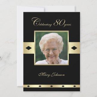 80th Birthday Party Invitation Photo 80th