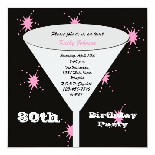 80th Birthday Party Invitation -- Pink 80th Toast