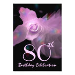 80th Birthday Party Invitation PINK Butterfly Rose