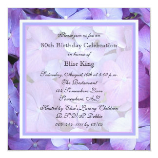 80th Birthday Party Invitation Purple Hydrangeas