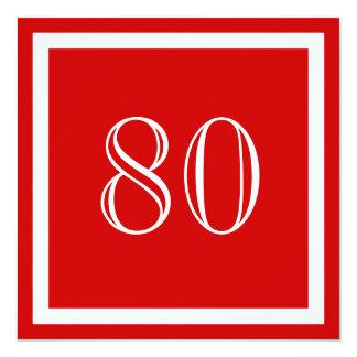 """80th Birthday Party Invitation - Red 5.25"""" Square Invitation Card"""