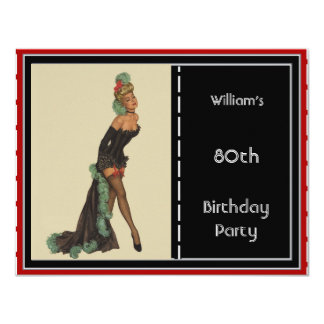 80th Birthday Party Invitation Red Black Pin-up