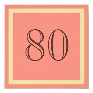 """80th Birthday Party Invitation - Salmon Coral 5.25"""" Square Invitation Card"""