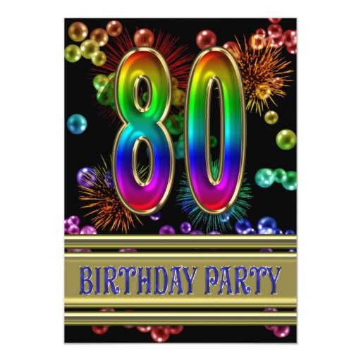 80th Birthday party Invitation with bubbles