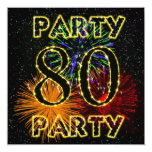 80th birthday party invitation with fireworks