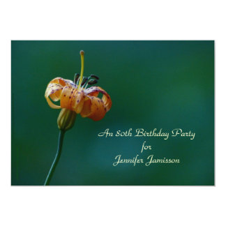 80th Birthday Party Invitation, Yellow Lily